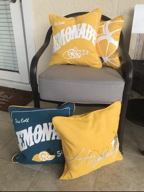 Yellow Summer Outdoor Throw Pillow