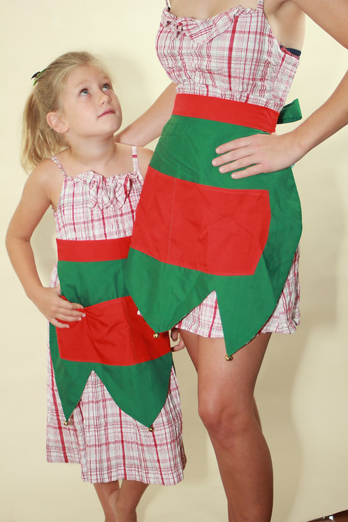 Elf Half Apron Adult or Child with Doll apron