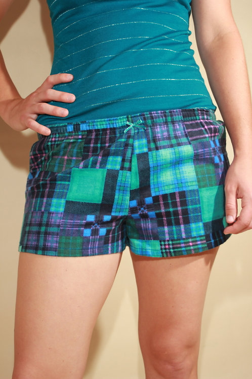 Womens Blue Flannel Shorts