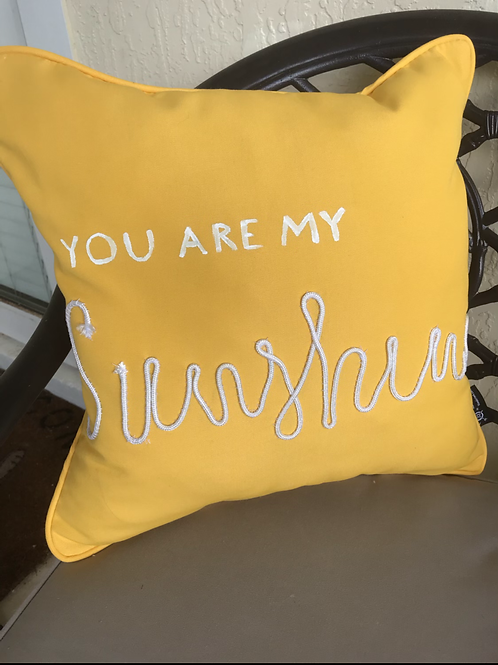 Sunshine Yellow Outdoor Throw Pillow