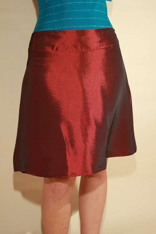 Womens Red Silky Skirt