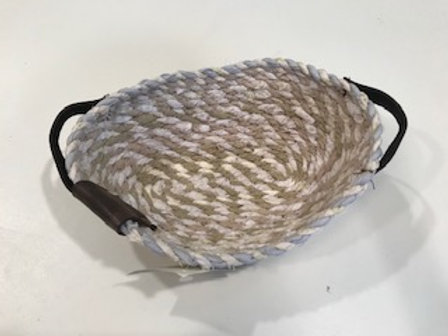 Rope and Leather Small oval basket