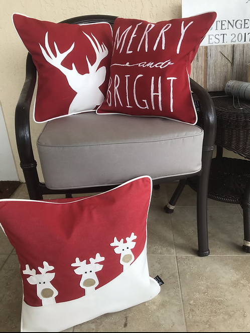 Red Christmas Outdoor Throw Pillow