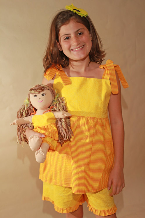 Yellow Shirt and Shorts with doll outfit