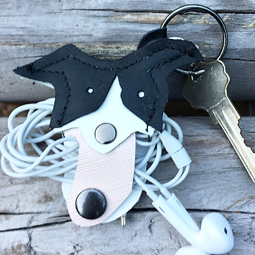 Leather Dog Earbud/Cord Holder Keychain