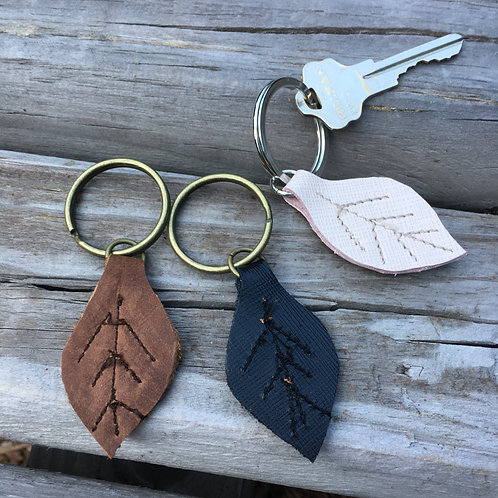 Leather Leaf, Tree or Heart Keychains