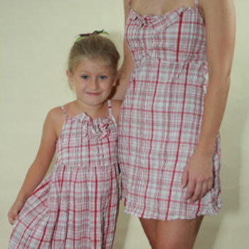 Womens Red plaid smocked dress