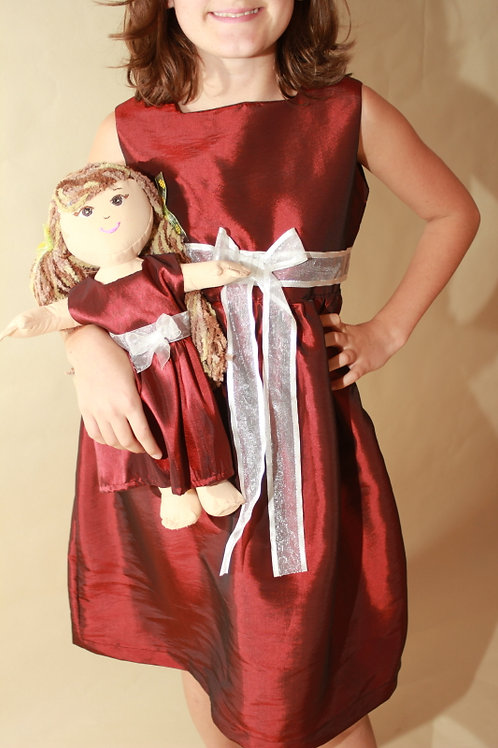 Red Silky Dress with Doll Dress