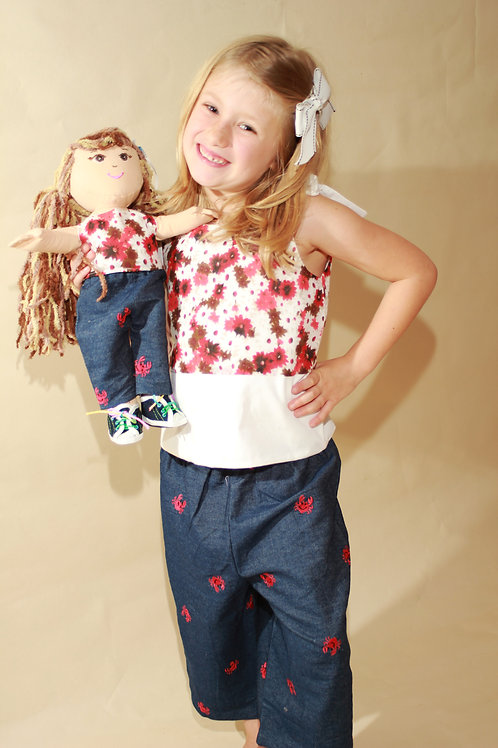 Flower Shirt and Denim Crab Shorts Set with doll outfit