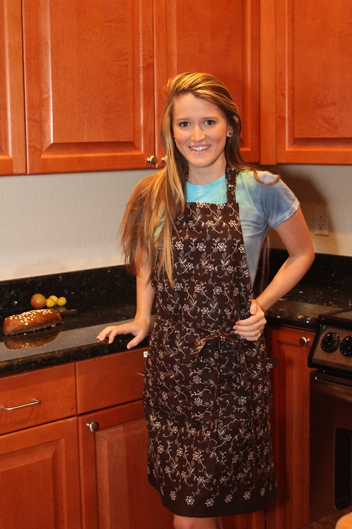 Brown Embroidered Apron