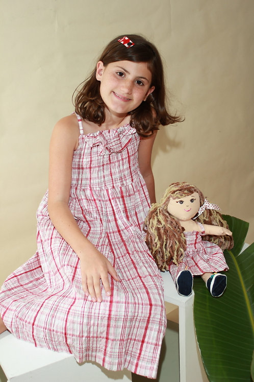 Red Plaud Smocked Dress with doll dress