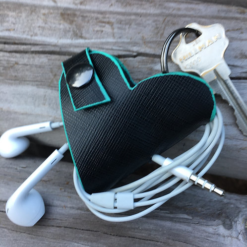 Leather Heart Key chain Earbud Tech Cord Holder