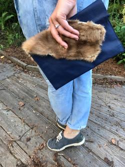 Leather & Fur Clutch
