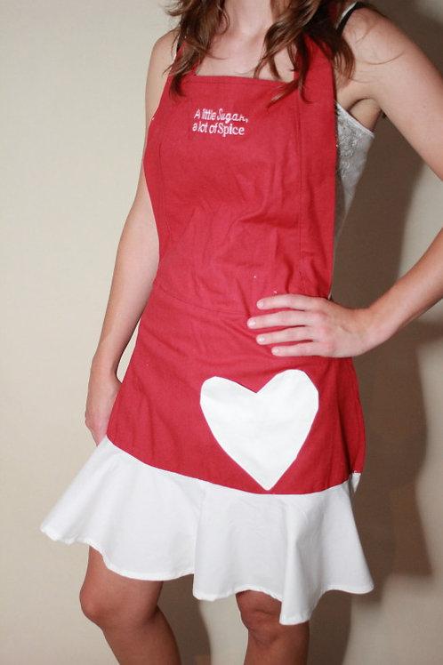 Red Heart Ruffle Apron