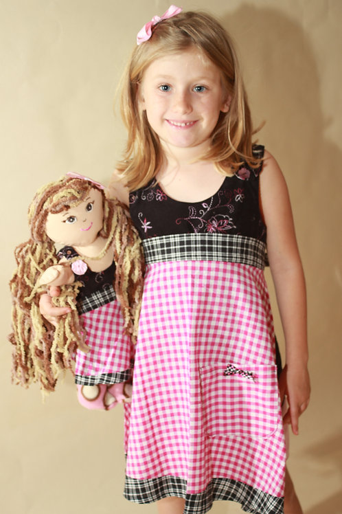 Child and doll pink apron