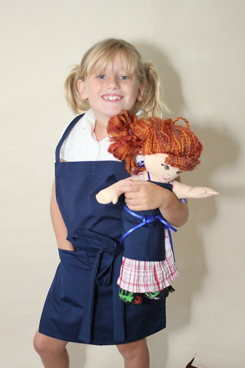 Blue Kids Apron with Doll Apron