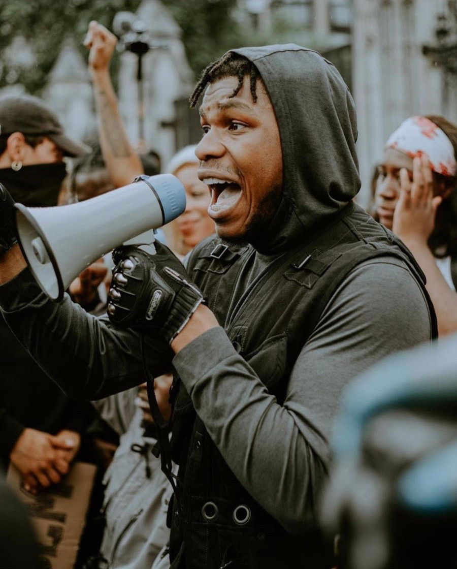 John Boyega  at the London Protest Images from Instagram account @zek.snaps