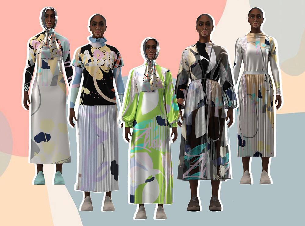 Collage of designs from Elle B Zhou Digital Presentation 2019