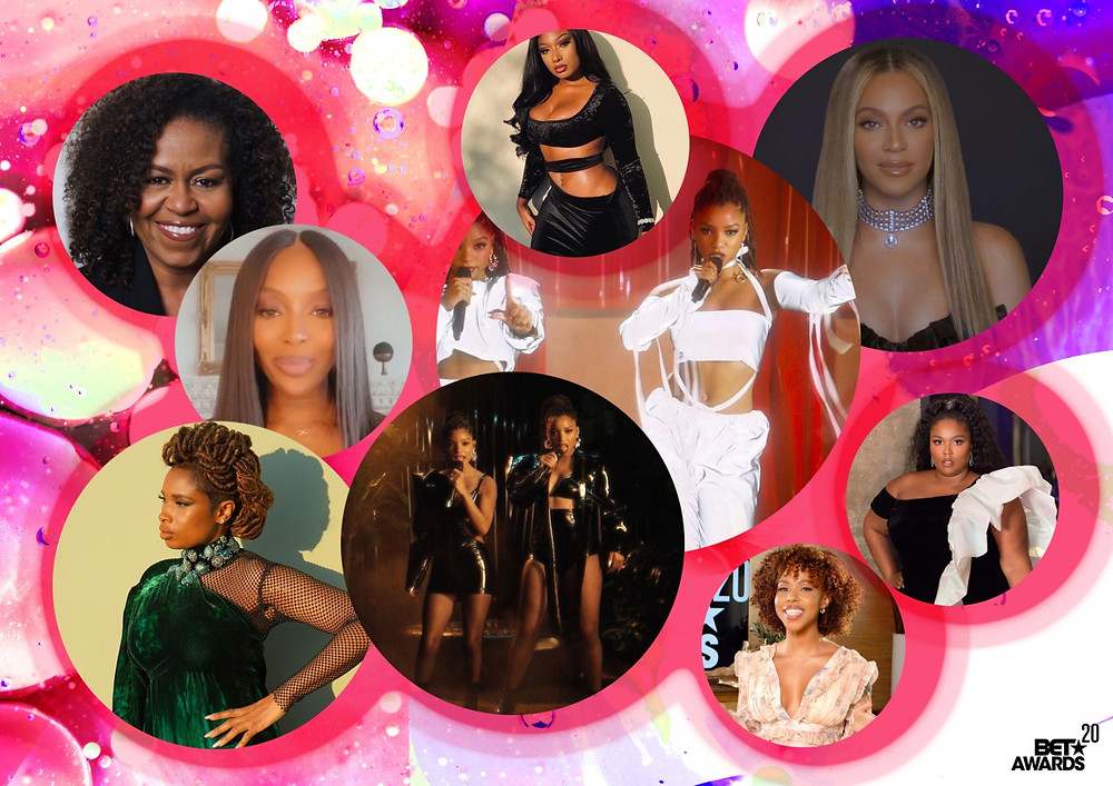 Michelle Obama, Jennifer Hudson, Naomi Campbell, Lizzo, Michelle Obama, Jennifer Hudson, Naomi Campbell, Lizzo, Chloe x Halle, Megan Thee Stallion and Beyoncé