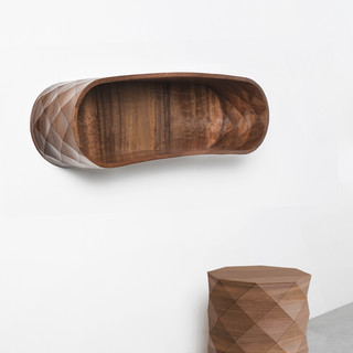 Oak Niche, wood shelf, architectural textile design, interior design wood, interior textiles