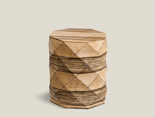 Diamond Wood African Walnut Stool