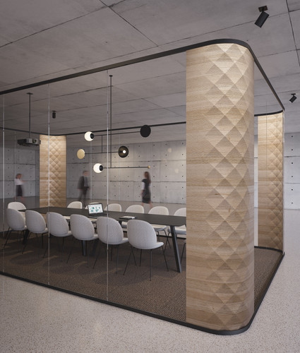 Reflective sound | faceted wood columns