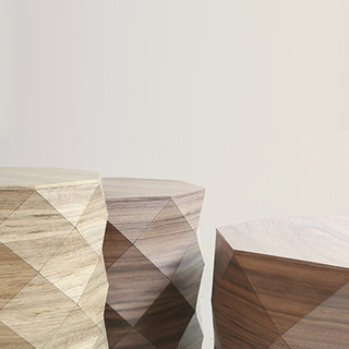 Diamond Woods geometric wood table, wood textiles, wooden textiles, fabricated wood