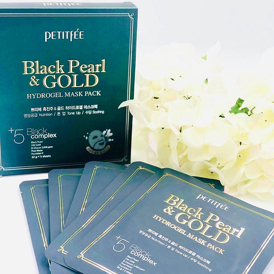 PETITFEE  Black Pearl & Gold Hydrogel Mask Pack 5pcs