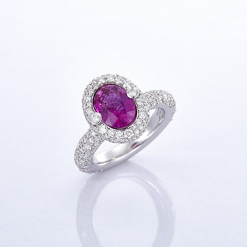 RING HALO PINK SAPPHIRE