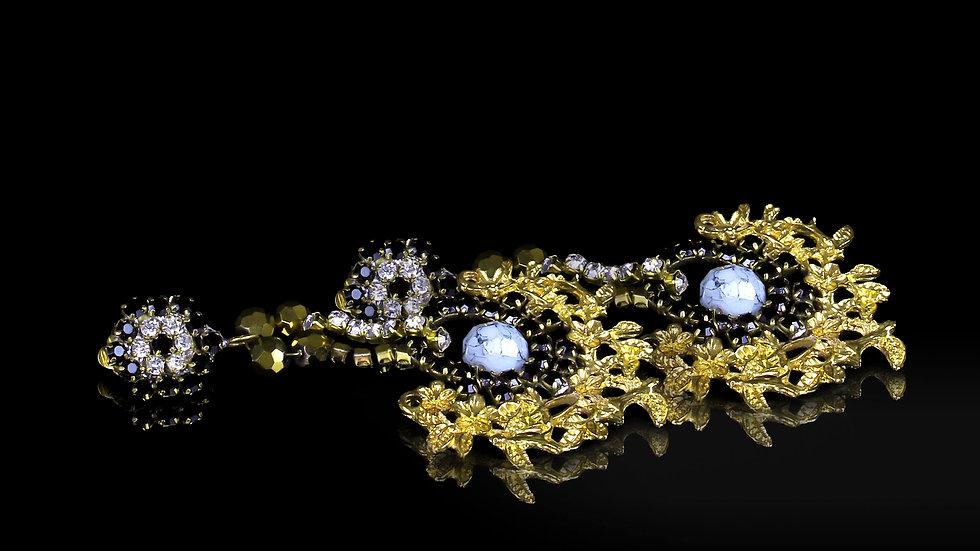 Designer Baroque Earrings Golden Garden