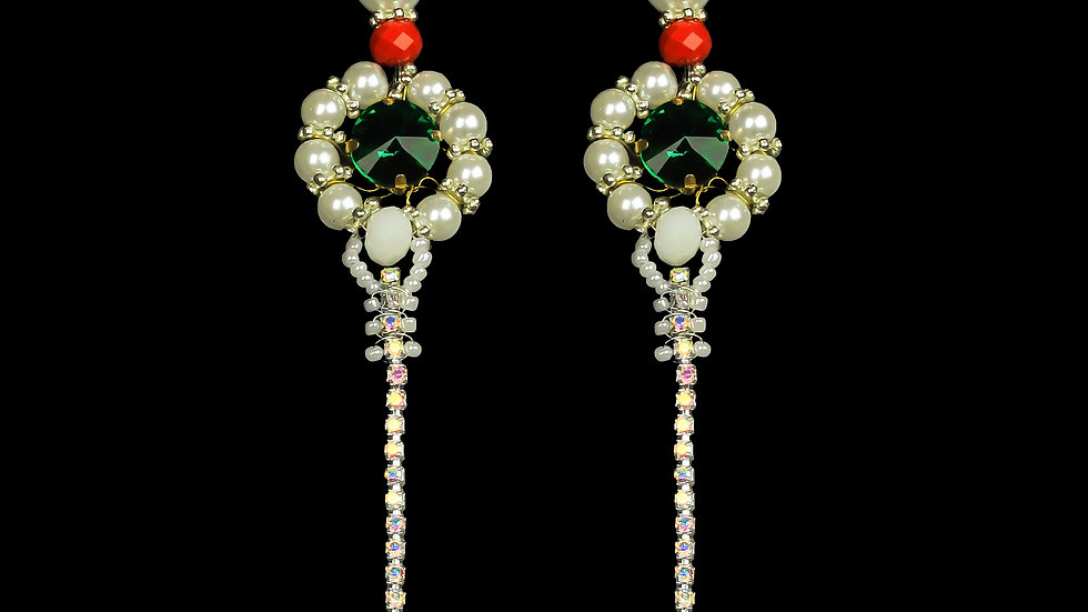 Designer Drop Earrings Crystal Iris