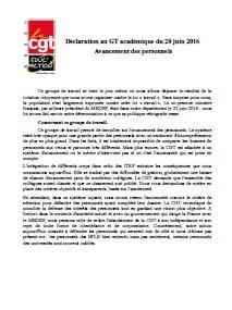 Déclaration au GT académique du 28 juin 2016  Avancement des personnels
