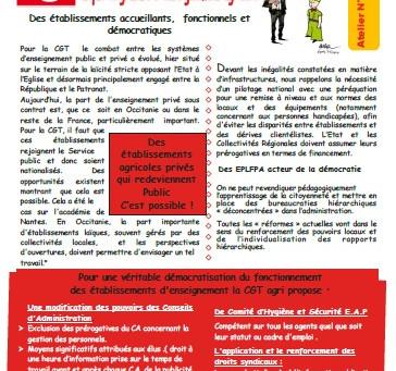 Assises de l'enseignement agricole en Occitanie : contribution de la CGT-Agri et de la FERC-CGT