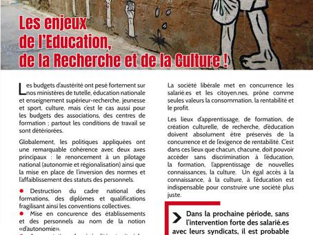 Les enjeux de l'Education, de la Recherche et de la Culture !