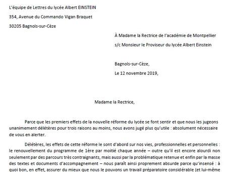Réforme du lycée : lettre ouverte des professeur.es de lettre du lycée Einstein à Bagnols