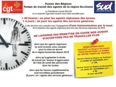 Les agents de la Région Occitanie se mobilisent contre une augmentation de leur temps de travail