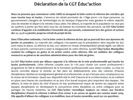 CAPA du 5 février 2020 : compte-rendu et déclaration des élu.es de la CGT Educ'action Montpellie