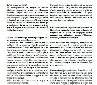 Jean-Marc Pujol ferme les écoles de Perpignan aux ELCO : une décision antirépublicaine et scandaleus