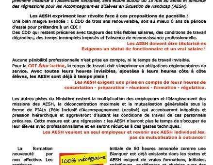 AESH, Refusons la loi Blanquer ! Mobilisons-nous !  Action intersyndicale le 15 Mai