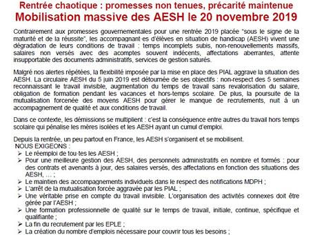 Rentrée chaotique : promesses non tenues, précarité maintenue      Mobilisation massive des AESH le