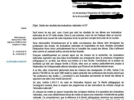 Sanctions contre les professeur.es des écoles n'ayant pas fait passer les évaluations nationales en