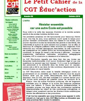 Le petit cahier de la CGT Educ'action (1er degré) d'octobre 2018