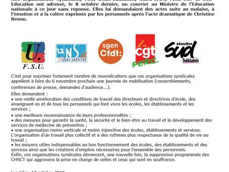 6 novembre : mobilisation pour nos conditions de travail