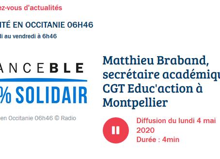 Notre intervention du France Bleu Occitanie : non à une reprise prématurée le 11 mai !