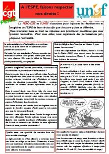Etudiant-e-s et stagiaires : à l'ESPE, faisons respecter nos droits ! (FERC-CGT/UNEF)