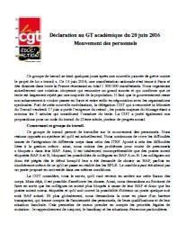 ITRF : CAPA/GT académique du 20 juin 2016  Mouvement des personnels