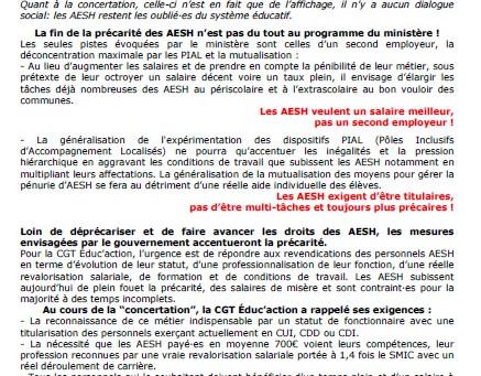 AESH, AVS, construisons la mobilisation nationale Pour notre statut, pour un vrai salaire Action int