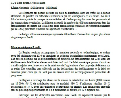 Compte rendu entrevue CGT Educ'action - Région Occitanie sur le numérique
