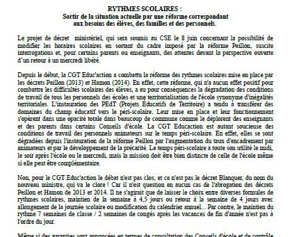 Communiqué de la CGT Educ'action 34 : RYTHMES SCOLAIRES : Sortir de la situation actuelle par un