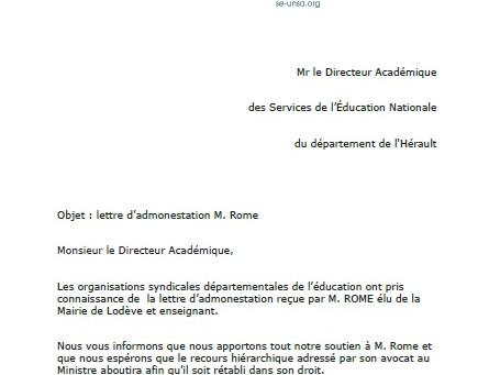 Non à la sanction d'un directeur d'école de l'Hérault sanctionné pour ses positions cont
